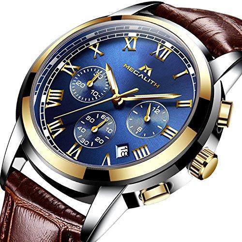 Montre Homme Montres Bracelet de Sport Etanche Chronographe Lumineuses Montre de Luxe en Cuir Marron Chronometre Calendrier de Date Analogique Quartz