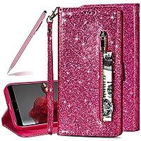 SKYXD Glitter Reißverschluss Brieftasche Hülle für Huawei P20 Pro, Stilvoll Luxus Bling Strass Wallet Stoßdämpfende Multifunktion Magnetisch Etui für Huawei P20 Pro(Rose Rot)