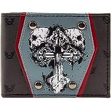Cartera de Skulls & Cross tatuaje con tachuelas Gris
