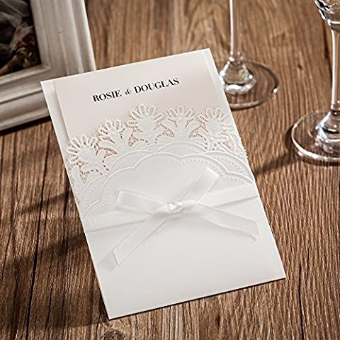 Wishmade White Pocket Laser Cut Invitations Cards with RSVP For wedding Birthday Baby Shower Party CW6083 (1