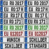 Nummernschilder 2 Stück Kennzeichen mit Wunschprägung EU Standard 520 x