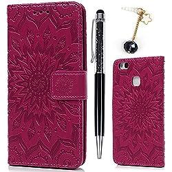 Huawei P9 Lite Coque Bookstyle Étui Tournesol Housse Imprimé en PU Cuir Case à rabat Coque de protection Portefeuille TPU Silicone Case pour Huawei P9 Lite - Rose Rouge