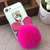 Mirror Case for iPhone 7 Plus/8 Plus 5.5 inch.Girlyard Crystal Soft TPU Rubber Bumper +Bling Diamond Glitter Cute Hairy Hairball 3D Fluff Bowknot Keychain PC Makeup Mirror Back Cover with Finger Ring Holder-Rose Red