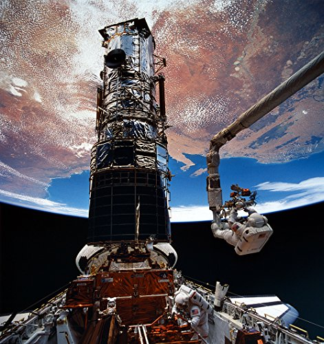 Spiffing Prints Hubble Telescope - Hoffman and Musgrave EVA5 - Medium - Matte - Black Frame