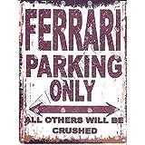 Ferrari de parking Sign Petite 15 x 20 cm rétro Boîte Style vintage Décoration murale Abri Atelier Garage Classic Cars