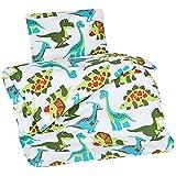 Aminata Kids - süße Bettwäsche Dinosaurier 100x135 Jungen-Kleinkinder-Bettwäsche Dino hochwertige Baumwolle - KINDERBETTGRÖSSE