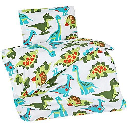 Aminata Kids - süße Bettwäsche Dinosaurier 100x135 Jungen-Kleinkinder-Bettwäsche Dino hochwertige Baumwolle - (Kostüme Trex Dinosaurier Baby)