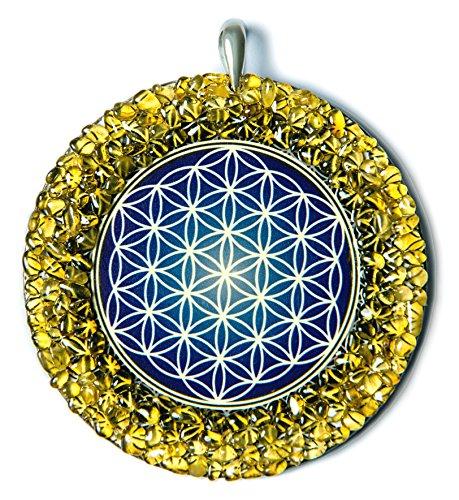 Flor de la vida Geometría sagrada Amuleto hecho a mano de ámbar báltico para la energía, la vida y la protección