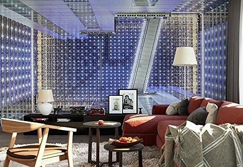 Vlies Fototapete Fotomural - Wandbild - Tapete - Beleuchtung Draht Decke Gebäude - Thema Architektur - L - 254cm x 184cm (BxH) - 2 Teilig - Gedrückt auf 130gsm Vlies - 1X-103737V4
