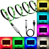 PESCA USB 5V 5050 RGB LED Flexible Strip Light Multi-Color Changing Lighting Kit, TV Background Lighting with Mini Controller