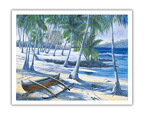 Pacifica Island Art Stadt der Zuflucht (Puuhonua O Honaunau) auf der Großen Insel von Hawaii Captain Cook-Ursprüngliche Farbe Malerei von Dawn Lundquist-Hawaiian Fine Art Print 11