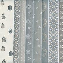 Textiles français Stoffpak - Bundle de telas - 6 telas (Colección Alpes - gris, gris pardo, beige y blanco) - colección de telas de coordinación (pequeños diseños) | 100% algodón | cada pieza 35 x 50 cm