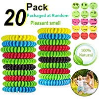 Preisvergleich für MQFORU Mückenschutz-Armband für Kinder und Erwachsene, 20 Stück, natürlich, deet-frei und 20 Stück Abwehrflicken...