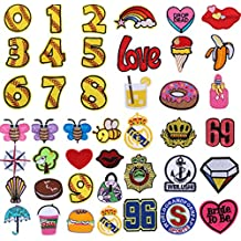 RYMALL 42 PC Patch Sticker, Cute DIY Ropa Parches Número de etiqueta Bee Tree Cartoon