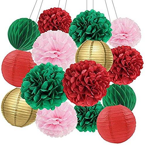 Weihnachten Party Dekorationen Kit mit Grün Rot Rosa Seidenpapier Pom Poms Papier Blumen Papier Laternen und Seidenpapier Wabenbälle für Weihnachten