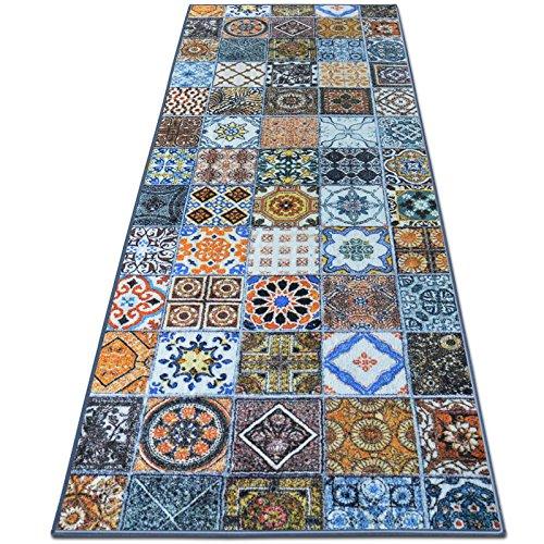 Teppichläufer Bonita | Patchwork Muster im Vintage Look | viele Größen | moderner Teppich Läufer für Flur, Küche, Schlafzimmer | Niederflor Flurläufer, Küchenläufer | Breite 80 cm x Länge 400 cm