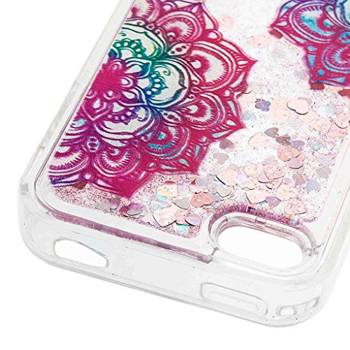 Trumpshop Smartphone Case Coque Housse Etui de Protection pour Apple iPhone 5/5s/SE/5C + Campanule + Flexible TPU 3D Liquide Paillettes Sables Mouvants avec Absorption de Choc Deux fleurs