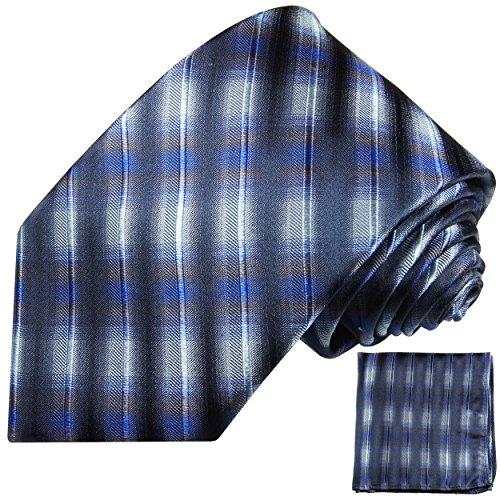 Bleu blanc ensemble de cravate 2 Pièces ( 100% Soie Cravate + Mouchoir )