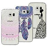 Yokata [3 Packs] Samsung Galaxy S6 Hülle Silikon Transparent Durchsichtig Handyhülle Schutzhülle TPU Dünn Slim Kratzfest mit Motiv Muster - Mandala + Feder + Mädchen und Schmetterling