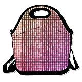 kkwodwcx colorido cuadrado patrón resistente al agua portátil Bolsa de transporte bolsa para el almuerzo enfriador de bolso con cremallera bolsas de comida Picnic al aire libre bolsa de viaje de moda bolso de mano para mujeres niños niñas
