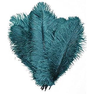 Kolight Lot de 5 plumes d'autruche naturelles 40~45 cm pour bricolage maison, mariage, décoration de bureau bleu sarcelle
