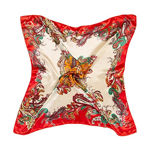 Bluelans® Damenschal Faux Seidenschal Seidentuch Blume Bandana Halstuch Kopftuch Schal 90 x 90 cm Bunte (Orange)