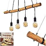 Suspension Seegaard en bois clair et métal noir, 4 lampes pendantes vintages idéal au dessus d'une table de salle à manger ré