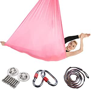 Viktion Authentisch helllila Aerial Yogatuch Set Yoga Swing Yoga H/ängematte Belastung 900kg