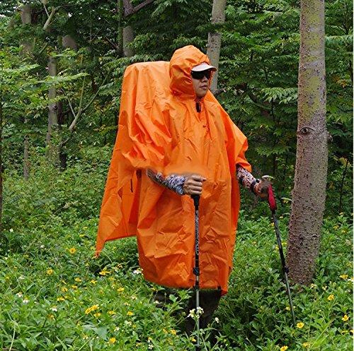 Ultra-léger trois-en-un tissu Poncho extérieur Multi-fonctionnels Poncho hommes portable et femmes Alpinisme Randonnée Sac à dos ultra-léger Imperméable Canopy Pour Cloth ( couleur : Orange ) Orange