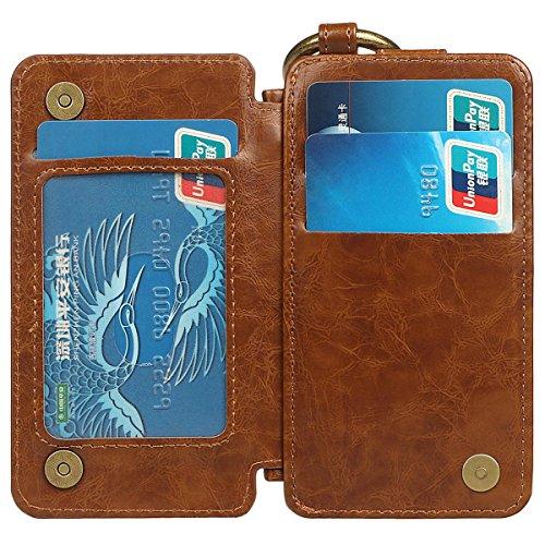 Hülle für iPhone X/10, xhorizon Erstklassiger weicher PU-Leder-magnetischer abnehmbarer Telefon-Kasten Tragetasche Geldbörse mit Kartensteckplätzen und Schlüsselanhänger Ring für iPhone X / iPhone 10 Braun