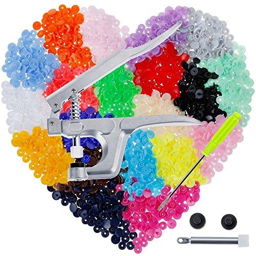 Anpro Bottoni Automatici a Pressioni in Plastica e Pinze in Metallo, 400 Pezzi