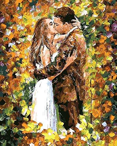 d Süße Kuss Paare Malen nach Zahlen Malen auf Leinwand Acryl Färbung Malen nach Zahlen für Hauptwanddekor Rahmenlos 16x20 Zoll ()