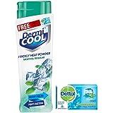 DermiCool Prickly Heat Powder, Menthol Regular, 150 g (Free Dettol Cool Soap, 75g Worth Rs 30)