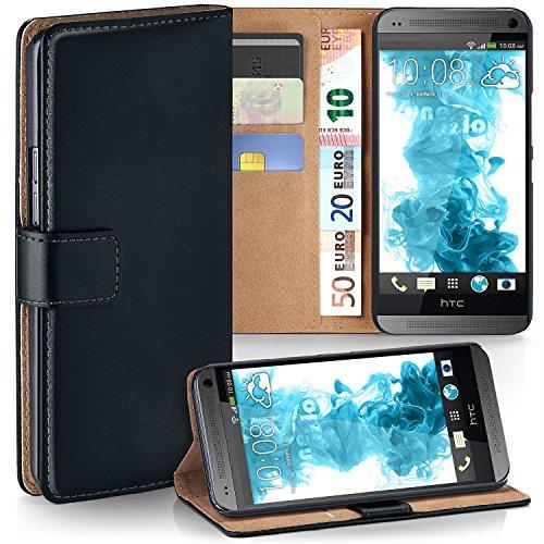 HTC One Mini | Hülle Schwarz mit Karten-Fach [OneFlow 360° Book Klapp-Hülle] Handytasche Kunst-Leder Handyhülle für HTC One Mini M4 Case Flip Cover Schutzhülle Tasche