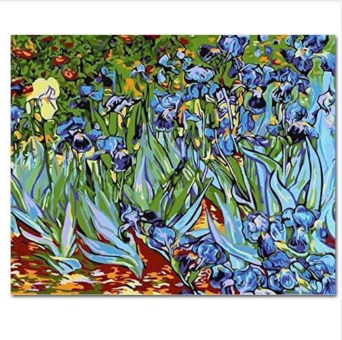 LIWEIXKY Rahmenlose Bild An Der Wand Acryl Gemälde Von Zahlen DIY Leinwand Malerei Kunst Färbung Von Zahlen Abstract Iris 50X60Cm - Abstract Iris