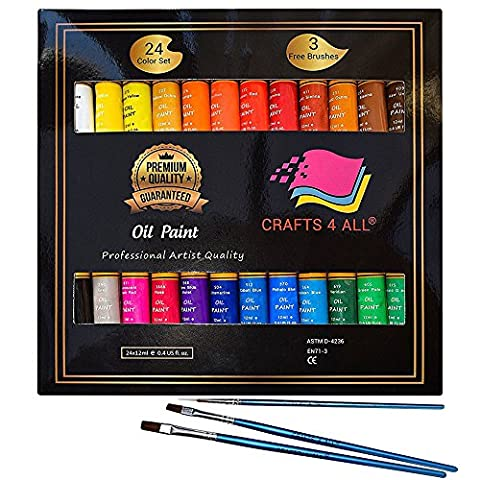 Oil Paints Set 24 Colors Premium Quality Oil Painting Kit for Artist,Students & Beginners - Perfect for Landscape and Portrait Paintings on Canvas by Crafts 4