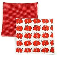 Preisvergleich für Set Kirschkernkissen Wärmekissen Körnerkissen ca.25 x 25 cm rote Hippos und kleine rote Punkte