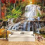 3D Wallpaper 3D Vliestapete Modernebenutzerdefinierte Wallpaper Murals 3D Hd Wald Rock Wasserfall Fotografie Hintergrund Wandmalerei Wohnzimmer Sofa Foto Wandbild Tapete, 300 * 210 Cm