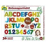 Lena 65822 Houten magneetbord, met magnetisch bord, ca. 44 x 38 cm, 26 magneetletters en 10 magneetniveaus, houten magneetbord voor kinderen vanaf 3 jaar, leerset met letters met afbeeldingen
