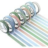 YUBX Maigre Washi Tape Set Masking Tape 12 rouleaux Ruban adhesif decoratif pour Scrapbooking Artisanat de Bricolage 8MM de l
