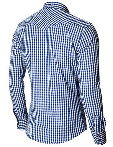 MODERNO Herren Hemd Kariert Silm Fit Button Down Kragen Langarm von ( MOD1458LS) Blau/ ...