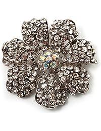 Clear Crystal Corsage Flower Brooch (Silver Tone)