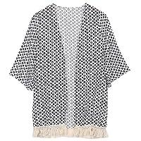 XFkbeA 2019 Women Tassel Kimono Vintage Plaid Printed Cardigan Casual Loose Batwing Sleeve Tops Blouses,Beige,L