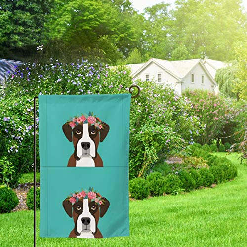IconSymbol Garden Outdoor Flag Banner Boxer Dog with Cut Lines Dog Panel Dog Cut Sew Floral Decorative Weather Resistant Double Stitched 18x12.5 Inch - Boxer Garden Flag
