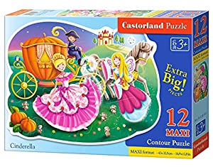CASTORLAND Cinderella 12 Maxi pcs 12pieza(s) - Rompecabezas (Contour Puzzle, Dibujos, Niños, 3 año(s), Niño/niña, Interior)