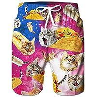 TUONROAD Mens Swim Shorts Funny 3D Print Cat Galaxy Swimming Shorts Quick Dry Boys Summer Swimming Trunks Light Surf Board Beach Shorts Knee Length Summer Casual Men Swimwear - S