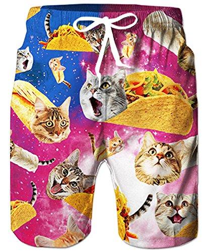 Retro-freizeit-anzug (TUONROAD Herren Badeshorts Funky Cat Galaxy 3D Druck Badehose Bunt Männer Beachshorts Schnelltrocknend Sommer Schwimmhose Leicht Kurze Hawaii Hose Boardshorts Knielange Shorts mit Mesh Futter - L)