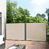 Pro tec [Pro.Tec]®Doppelte Seitenmarkise - 160 x (2 x 300) cm Sandfarben/Beige Sichtschutz Markise Sonnen- & Windschutz