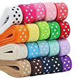 ULTNICE 17 couleur pois ruban Craft Grosgrain rubans Rubans pour les cheveux bricolage cadeaux