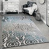 Paco Home Designer Teppich Moderne Ornamente Muster Wohnzimmerteppich Grau Blau, Grösse:120x170 cm